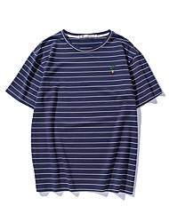 Women's Indoor Leisure Sports Active Summer T-shirt,Striped Round Neck Short Sleeve Brocade Medium