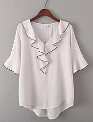 Damen Solide Einfach Alltag Normal T-shirt,V-Ausschnitt Kurzarm Baumwollmischung