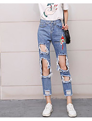 Women's High Waist Micro-elastic Jeans Chinos Pants,Sexy Relaxed Print