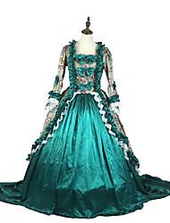 Costume de Soirée Gothique Victorien Cosplay Vêtrements Lolita Rose Gris Vert Imprimé Manches 3/4 Asymétrique Robe Jupon PourTissu