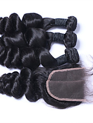 Natural Color Hair Weaves Brazilian Texture Loose Wave More Than One Year Four-piece Suit hair weaves