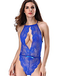 Women Solid Color Bow Perspective Hanging Neck Lace Chiffon Siamese Sexy Lingerie