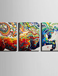 E-HOME® Abstract Colored Horse Clock in Canvas 3pcs