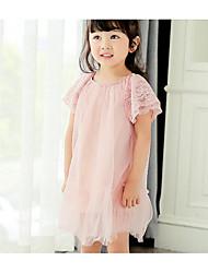 Girl's Solid Dress,Cotton Summer Short Sleeve