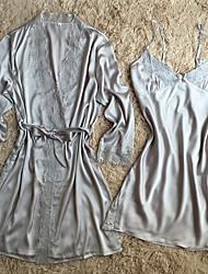 Robe de chambre Satin & Soie Costumes Vêtement de nuit Femme,Sexy Rétro Solide