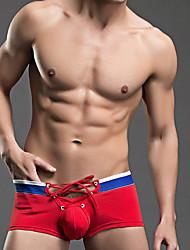 Pánské Kalhotky Barevné bloky Jednobarevné Síťka Sport Retro Šněrování Barevné bloky