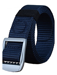 Men's Alloy Military Waist Belt Casual/Business Solid Pure Color Quick-drying Nylon Canvas Belt Black/Royal Blue/Army Green/Khaki