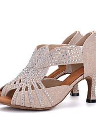 Damen Latin Glanz Sandalen Absätze Aufführung Strass Verschlussschnalle Keilabsatz Gold Rosa Schwarz/Weiß Weiß/Silber2,5 - 4,5 cm 5 - 6,8