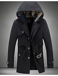 Men's Casual/Daily Simple Fall Winter Trench Coat,Solid Hooded Long Sleeve Short Cotton Polyester