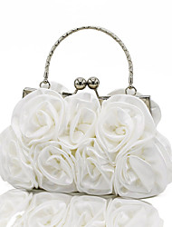 Women Bags All Seasons Silk Evening Bag with Ruffles Chain Mini Spot for Wedding Event/Party Formal White Black Silver Red Apricot