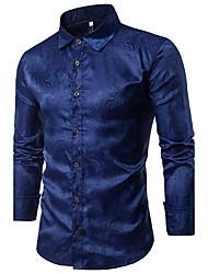 Для мужчин На каждый день Рубашка Классический воротник,Шинуазери (китайский стиль) Шахматка Длинный рукав,Хлопок