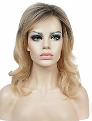 Mujer Pelucas sintéticas Sin Tapa Medio Ondulado Rubio Peluca natural Las pelucas del traje
