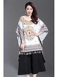 Mujer Vintage Sofisticado Noche Casual/Diario Verano Camiseta,Escote Redondo Estampado Manga Corta Poliéster Medio
