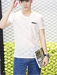 Masculino Camiseta Diário Simples Verão,Sólido Outros Náilon Chinês Decote Redondo Manga Curta