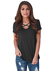 Tee-shirt Femme,Couleur Pleine Quotidien Décontracté simple Eté Manches Courtes Col Arrondi Polyester Spandex Moyen