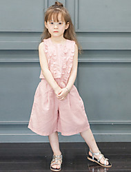 Girl's Fashion And Lovely TTemperament Is Pure Color Lace Sleeveless Vest Coat Leisure Wide-Legged Pants Two-Piece
