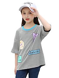Para Meninas Camiseta Geométrico Verão Algodão Poliéster Regular