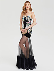 Sheath / Column Sweetheart Floor Length Tulle Velvet Formal Evening Dress with Pattern / Print by TS Couture®