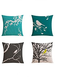 4 pcs Linen Pillow case Bed Pillow Body Pillow Travel Pillow Sofa CushionBotanical Pattern Printing Nature Inspired