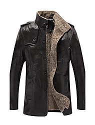 Men's Daily Casual Vintage Casual Fall Winter Leather Jacket,Solid Stand Long Sleeve Regular PU
