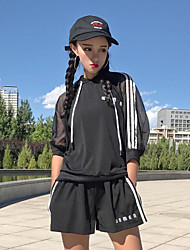Women's Casual/Daily Simple Summer Hoodie Pant Suits,Striped Hooded Short Sleeve