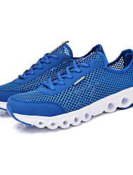 Men's Athletic Shoes Running Comfort Tulle Spring Fall Outdoor Lace-up Flat Heel Dark Grey Light Grey Royal Blue Under 1in