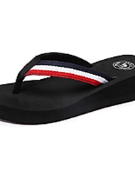 Camel Women's All-match Slippers & Flip-Flops Beach Wedge Heel Shoes Color Black and White/Red
