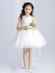 бальное платье короткое / мини-платье девушки цветка - тюль без рукавов v шея с вышивкой bowknot по амгам