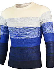 Men's Casual Regular Pullover,Color Gradient Round Neck Long Sleeve Acrylic Spring Fall Medium Micro-elastic