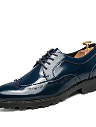 Men's Oxfords Formal Shoes Comfort Leather Spring Fall Wedding Casual Party & Evening Formal Shoes Comfort Lace-up Flat HeelBlue Black