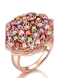Women's Ring Multi-stone AAA Cubic Zirconia Adorable Elegant Rose Gold  Flower Shape Jewelry For Wedding Anniversary Engagement Party