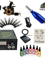 1 Set High Born Tattoo Kit HZ1 With 7x15ML Inks 5 Needles Power Supply Switch