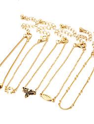 5Pcs/Set Alloy Fashion Vintage Elephant Leaf Beads Pendant Bracelets Anklet For Women Bracelet Set Party/Evening Gift