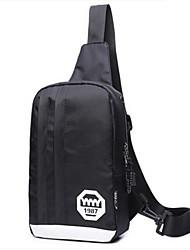 муж. Слинг сумки на ремне Полотно Все сезоны Повседневные Круглые Молния Черный
