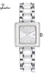 Жен. Модные часы Swiss Кварцевый Защита от влаги Нержавеющая сталь Керамика Группа Повседневная Элегантные часы Черный Белый Синий