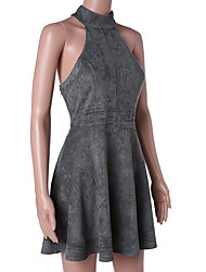 Gaine Robe Femme Décontracté / Quotidien simple,Couleur Pleine Col Arrondi Au dessus du genou Sans Manches Eté Taille Normale