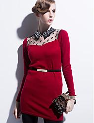 Largo Vestito Da donna-Casual Con stampe Colletto Sopra il ginocchio Manica lunga Cotone Primavera A vita alta Media elasticità Sottile