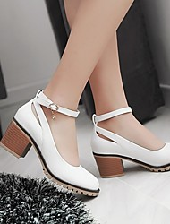 Women's Shoes PU Spring Comfort Flats Low Heel Chunky Heel Round Toe With For Casual White Black Almond