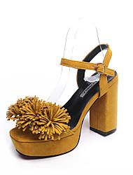 Damen Sandalen Pumps PU Frühling Sommer Kleid Party & Festivität Schnalle Tassel(n) Blockabsatz Schwarz Gelb Rosa 10 - 12 cm