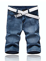 High Quality Famou HOT! 28-36 Plus Size Men's Mid Rise Micro-elastic Jeans PantsSimple Straight Solid
