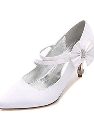 Women's Wedding Shoes Comfort Basic Pump Spring Summer Satin Wedding Dress Party & Evening Rhinestone Bowknot Sparkling Glitter Low Heel