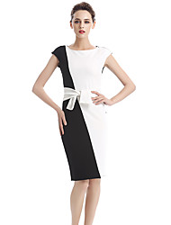 Womens Elegant Vintage Contrast Colorblock Slim Belted Patchwork Casual Wear To Work Office Pencil Sheath Dress