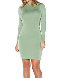 Women's Party Going out Bodycon Dress,Solid Round Neck Knee-length Above Knee Long Sleeves Cotton Fall Mid Rise Micro-elastic Medium