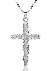 Women's Pendant Necklaces Imitation Diamond Cross Alloy Fashion Classic Jewelry For Party Gift Evening Party Stage