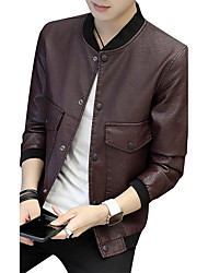 Men's Plus Size Going out Casual/Daily Work Club Vintage Street chic Punk & Gothic Fall Winter Leather Jacket,Solid Print Letter Stand
