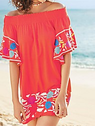 Women's Bandeau Cover-Up Solid Embroidery