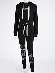 Sweat à capuche Pantalon Costumes Femme,Couleur Pleine Sports Rétro Printemps Automne Manches longues