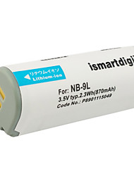 Ismartdigi 9L 3.5V 870mAh Camera Battery for Canon IXUS 1000 1100 510 HS IXY50 SD4500IS N2