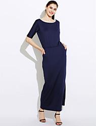 Amazon ebay wish explosão modelos na Europa e América&# 39; s lado do comércio exterior fenda bolsos vestido de verão solto