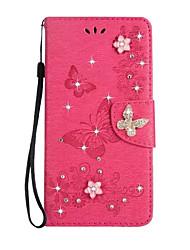 pour étui porte-carte porte-monnaie strass en étui avec étui plein corps étui en couleur solide papillon pu dur cuir pour sony sony xperia